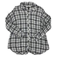 Talbots WomanSize 1X Blouse Top Button Down Long Sleeve Black White Plaid Shirt