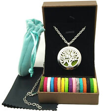 "Tree Essential Oil Diffuser Locket Pendant aromatherapy Jewelry 24"" + Gift Box"