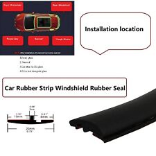 20fts Black Windshield Soundproof Window Weatherstrip Rubber Seal Strip Trim