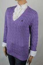 Ralph Lauren Purple Cable Knit V-Neck Sweater Navy Blue Pony NWT