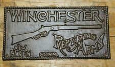 Huge Cast Iron Winchester Repeating Arms Plaque Sign Rustic Ranch Wall Decor