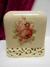 Waverly Garden Room Pierced Rose Ceramic Tissue Holder Box Cover Decor