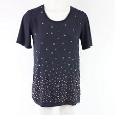 MARC CAIN Shirt FC4895 Gr N1 34 Schwarz Baumwolle Strass Damen NP 199 NEU
