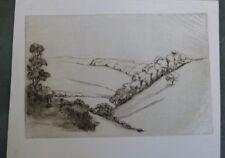 NORMAN McKELLEN etching , rural scene ABNEY CLOUGH , circa 1938