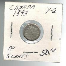 1893 Canada 5 Cents Y 2 Silver Coin