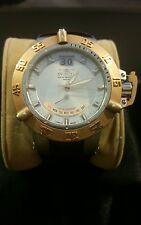 Invicta Mens Subaqua Noma III Quartz Abalone Dial Watch Gold tone