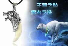 1PC Wolf Tooth White Bone Tibetan Silver Wolf Head Amulet Pendant Necklace
