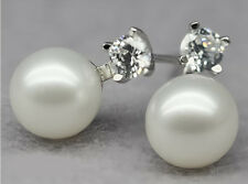 Circle Natural Freshwater Pearl Earrings �� New 7.5-8Mm White Silver Perfect