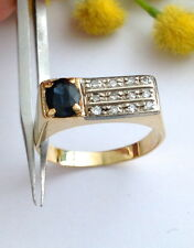 ANELLO IN ORO 18KT CON ZAFFIRO E DIAMANTI - 18KT SAPPHIRE AND DIAMOND RING