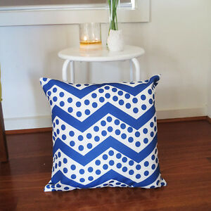 Blue n White Polka Dot Chevron Zig Zag Throw Cushion Cover Retro Modern