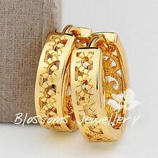 9K 9CT Yellow GOLD GF Vintage Style Filigree HOOP Huggie Earrings Womens ES440