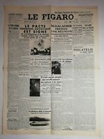 N1166 La Une Du Journal Le Figaro 24 Août 1939 pacte Germano soviétique