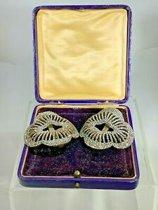 Antique Art Deco Sparkly Cut Steel Shoe Buckles Clips Made in France MG w/Box