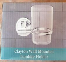 Clayton Wall Mounted Tumbler Holder Chrome (holder only no glass)