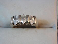 Sterling Silver Marquise CZ Rhinestone size 5.75 Band style Ring 11a 81