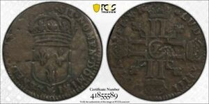 1693-P France 15 Denier Use in New France Lis Counterstamp PCGS F15 Lot#G1150