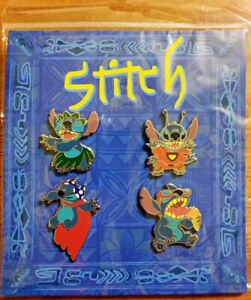 Disney Parks Booster 4 Pin Pack Set STITCH Hula + Cape + Ice Cream + Space - NEW