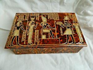 "Medium Egyptian Leather Jewelry Box With Osiris Isis Design 7.5"" X 4.75"" #52"