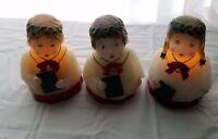 "Vintage Wax Carolers Lot Of 3 Girls 6.5"" High 2 Carolers Light Up Christmas"