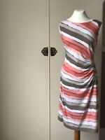 Dress Size 16 Taupe Coral White Sleeveless Pull On Stretch Smart Casual
