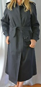 Women Blue Cotton Blend BURBERRY Overcoat Trench Coat 14 Extra Long