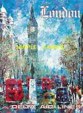 "Delta Air Lines ( LONDON ) 11"" x 17"" Collector's Travel Poster Print - B2G1F"
