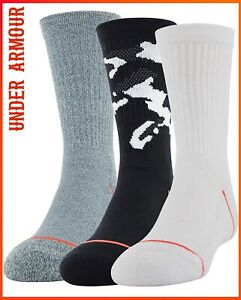 Under Armour Youth 3-Pairs Phenom Crew Socks  Size Youth 13.5K-4Y