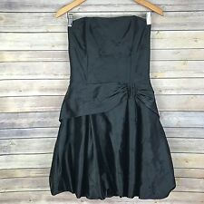 Jessica McClintock Size 10 Prom Dress Black Strapless Floral Embroidered Bow