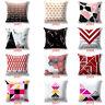 Pink Geometric Marble Cotton Linen Sofa Waist Throw Cushion Covers Home Decor