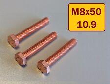 12 Stück Kupferschraube  DIN ISO EN 4017 M8x50 10.9 hochfest stark verkupfert