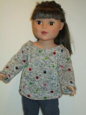 "Colored Dots Heavyweight Knit Sweater for 18"" Doll Clothes American Girl"