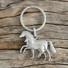 """Horse Keyring / Key Ring - """"MARE & FOAL"""" - Equestrian - Matte Silver"""