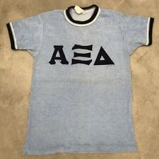 Vintage 60s T Shirt Terrycloth Athletic College Frat Stitched Letters 1960s