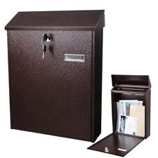 "16"" Steel Locking Mail Box Wall Mount Large Newspaper Letterbox w/ Door & 2"