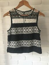 Tokito Black & White Stripe Lace Crochet Top Work Or Casual Style Size 8