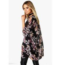Plus Size Fashion Women Summer Chiffon Floral Kimono Cardigan Shawl Tops Blouses