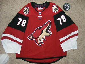 Arizona Coyotes #78 David Tendeck 19/20 Home Game Used TC Set Jersey w/LOA