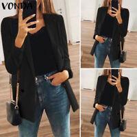 Mode Femme Blazer Manteau Noir Courte Manche Longue Affaires Ample Simple Confor
