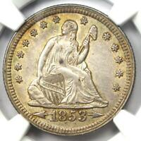 1853 Arrows & Rays Seated Liberty Quarter 25C - Certified NGC AU55 - Rare Coin!