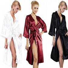 Neu Luxus Damen Morgenmantel DKaren Bademantel Hausmantel Satin Kimono Sexy