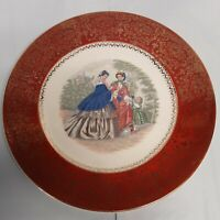"Vintage Century by Salem USA Made 23 Karat Gold Victorian Women 11"" Plate"