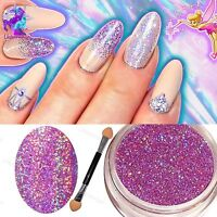 LILAC HOLOGRAPHIC NAIL POWDER 2g RAINBOW Glitter Effect Ultra Thin Dust Holo UK