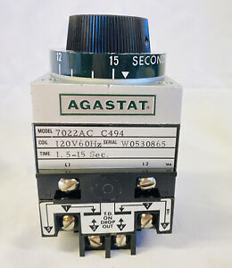 New (open box) Agastat Timing Relay 7022AC 120V 1.5-15 Seconds