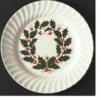 "VINTAGE (4) SCIO HOLLY WHITE SWIRL CHRISTMAS 10"" Dinner Plate,  4 plate set"