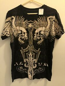 Xzavier Unlimited Wings Skulls Swords Men's T-Shirt Size M USA New With Tag