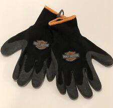 HARLEY DAVIDSON Motorcycle Black Knit Rubber Riding Winter Gloves Medium Size