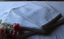 4tlg. BETTWÄSCHE SET weiß Baumwolle Damast Weißwäsche Aussteuer antik Streifen