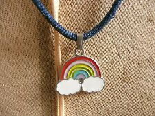 Rainbow over clouds enamel pendant Necklace thong
