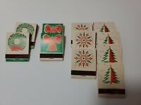 Vintage 1960s Christmas Matchbooks Set of 11 Diamond Match Tree Wreath Snowflake