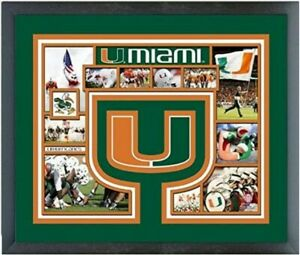 """Miami Hurricanes Custom Matted Photo Collage (Size 12.5"""" x 15.5"""") Framed"""
